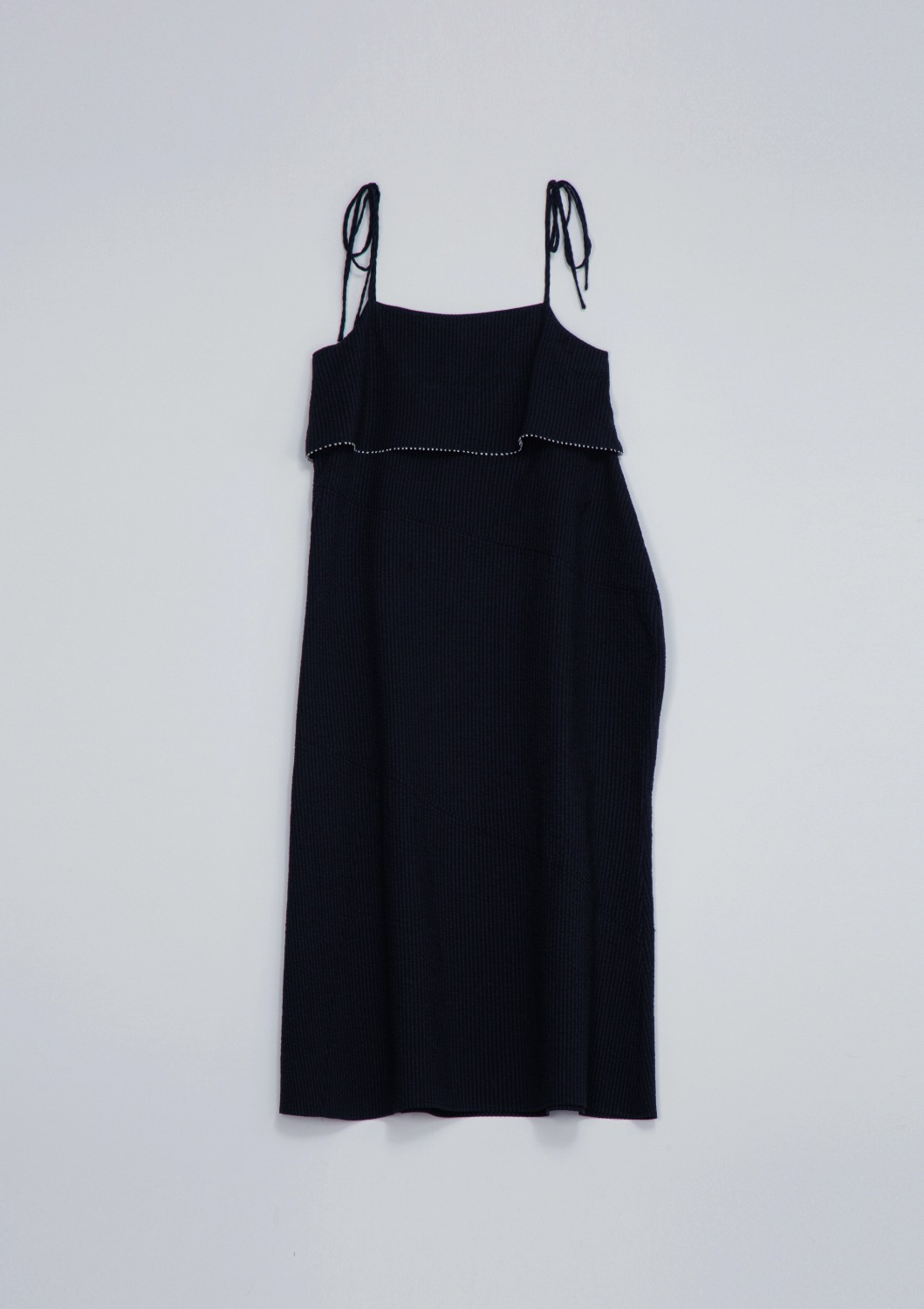 En Fete Slip Dress - Black Seersucker