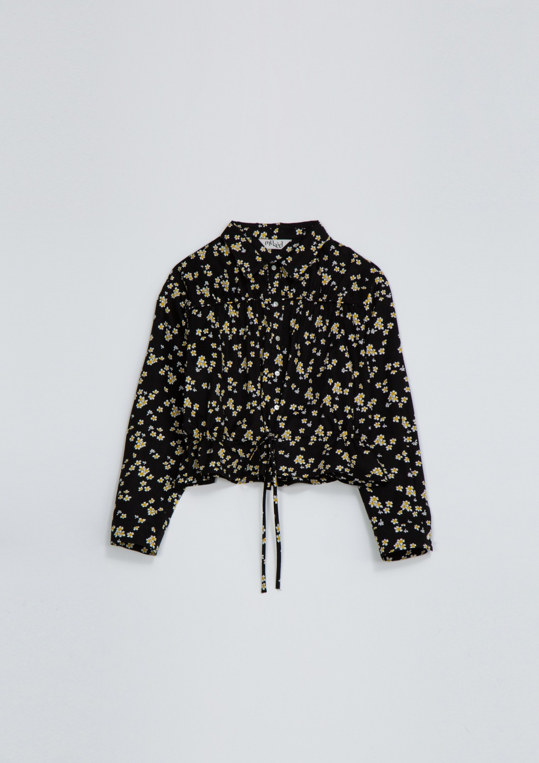 Bien Shirt Jacket - Black Floral Artwork