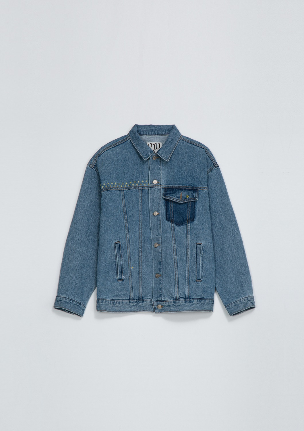 Hand EMB Oversized Denim Trucker - Washed Blue
